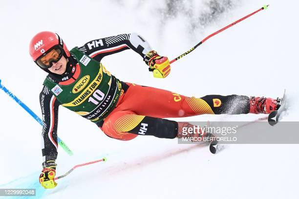 Canada's Erik Read competes during the first run of the 3rd Men's Giant Slalom event of the FIS Alpine Ski World Cup, in Santa Caterina di Valfurva,...