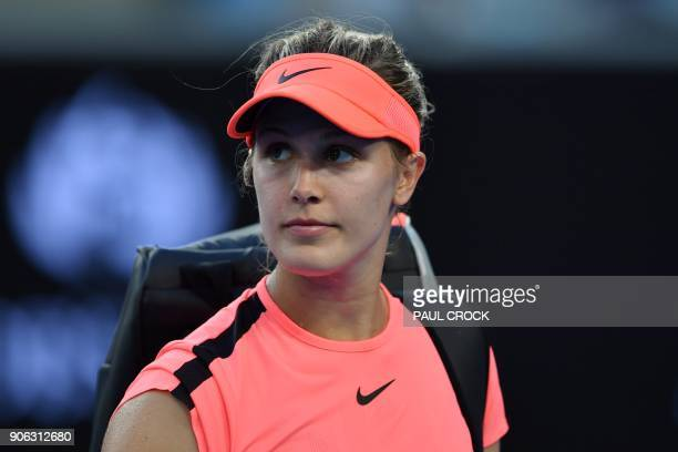 Canada's Eugenie Bouchard looks on after her women's singles second round match against Romania's Simona Halep on day four of the Australian Open...