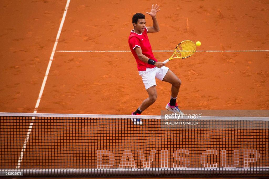 TOPSHOT-TENNIS-DAVIS CUP-SVK-CAN : News Photo