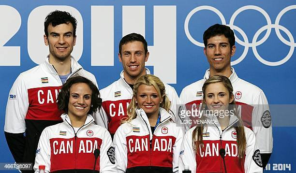 Canada's figure skating pairs Meagan Duhamel Eric Radford Kirsten MooreTowers Dylan Moscovitch Paige Lawrence and Rudi Swiegers pose for picture...