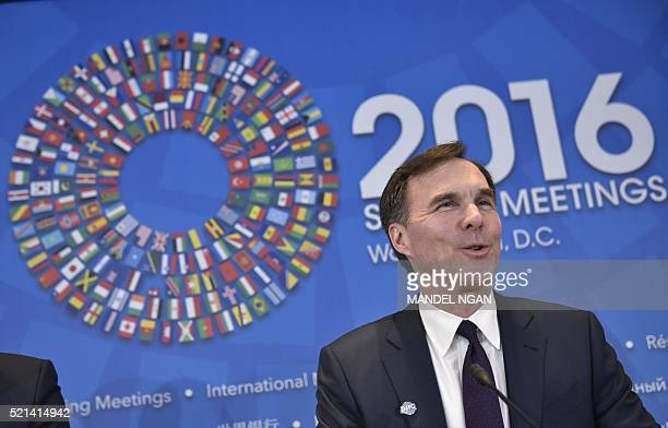 Canada's Finance Minister Bill Morneau speaks during a press conference during the annual International Monetary Fund, World Bank Spring Meetings at...