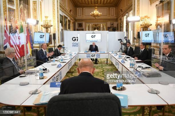 Canada's Foreign Affairs Minister Marc Garneau, Britain's Foreign Secretary Dominic Raab, , Japan's Foreign Minister Toshimitsu Motegi, European High...