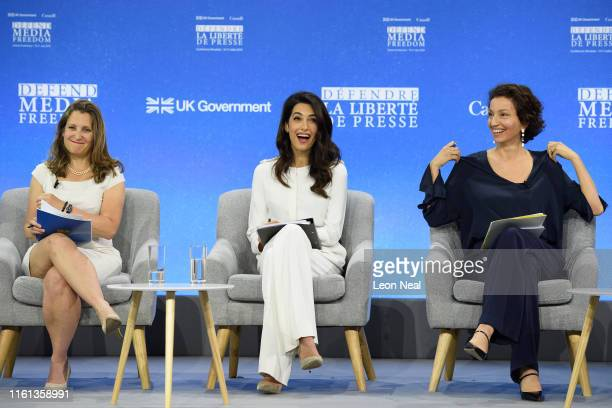 Canada's Foreign Secretary Chrystia Freeland Barrister and UK Foreign Office Special Envoy on Media Freedom Amal Clooney and Director General of...