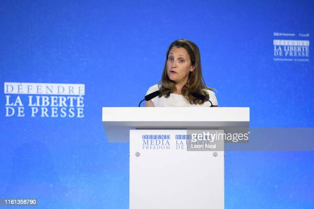 Canada's Foreign Secretary Chrystia Freeland speaks to delegates during day two of the Global Conference on Press Freedom on July 11 2019 in London...