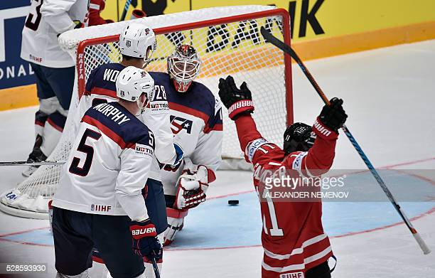 Canada's forward Brendan Gallagher celebrates after scoring past US goalie Keith Kinkaid during the group B preliminary round game USA vs Canada at...