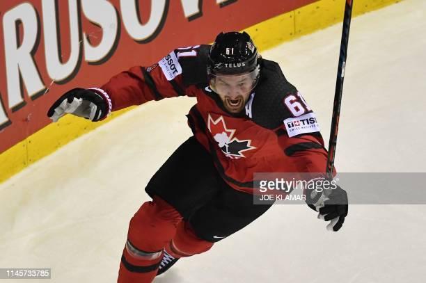 Canada's forward Mark Stone celebrate scoringthe winning goal during the IIHF Men's Ice Hockey World Championships quarterfinal match between Canada...