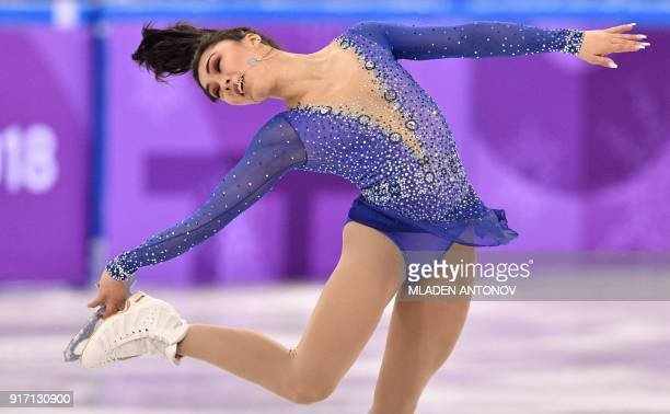TOPSHOT Canada's Gabrielle Daleman competes in the figure skating team event women's single skating free skating during the Pyeongchang 2018 Winter...