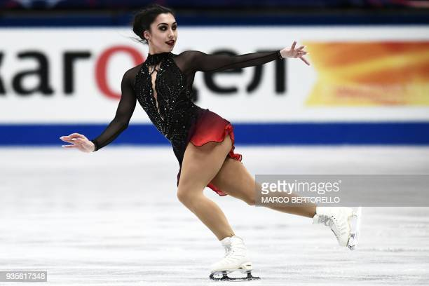 Canada's Gabrielle Daleman performs on March 21, 2018 in Milan during the Ladies figure skating short program at the Milano World League Figure...