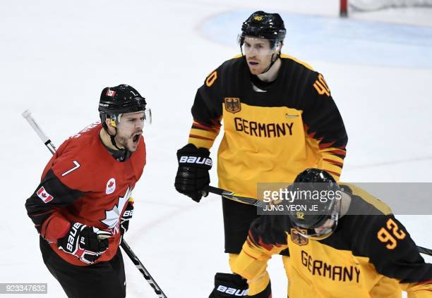 Canada's Gilbert Brule celebrates scoring a goal in the men's semifinal ice hockey match between Canada and Germany during the Pyeongchang 2018...