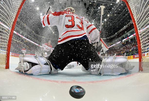 Canada's goalie Cam Talbot lets the puck into his net during the semifinal game Canada vs USA at the 2016 IIHF Ice Hockey World Championship in...