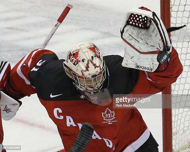 TORONTO JANUARY 5 Canada's goalie Zachary Fucale with a save 2015 IIHF World Junior Championship hockey 1st period action of Gold Medal game between...