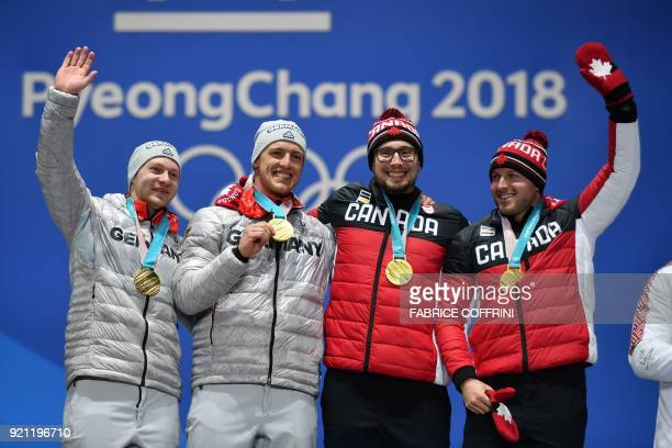 TOPSHOT Canada's gold medallists Justin Kripps and Alexander Kopacz and Germany's gold medallists Francesco Friedrich and Thorsten Margis pose on the...