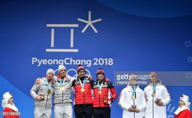Canada's gold medallists Justin Kripps and Alexander Kopacz Germany's gold medallists Francesco Friedrich and Thorsten Margis and Latvia's bronze...