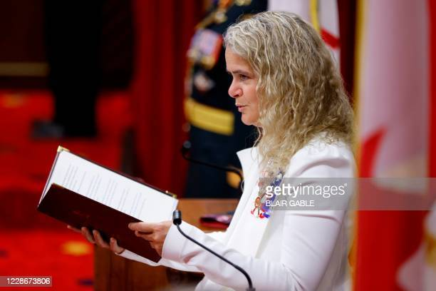 Canada's Governor General Julie Payette delivers the Throne Speech in the Senate, as parliament prepares to resume in Ottawa, Ontario, Canada, on...