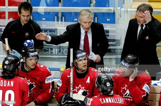 Canada's head coach Andy Murray issues instructions during the IIHF World Ice Hockey Championship quarter final match between Canada and Switzerland...