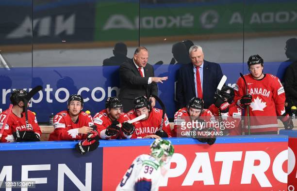 Canada's head coach Gerard Gallant gestures during the IIHF Men's Ice Hockey World Championships preliminary round group B match Canada vs Norway, at...