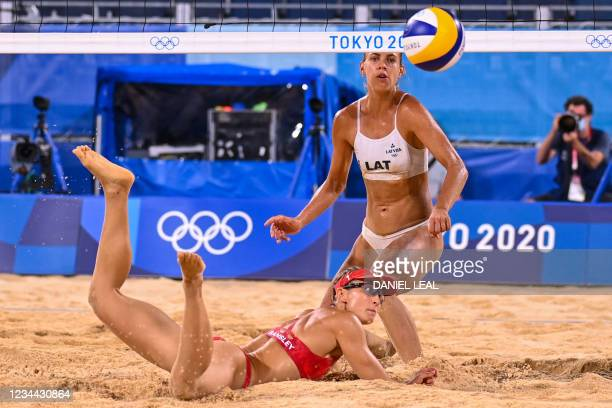 Canada's Heather Bansley and Latvia's Tina Graudina watch the ball in their women's beach volleyball quarter-final match between Latvia and Canada...