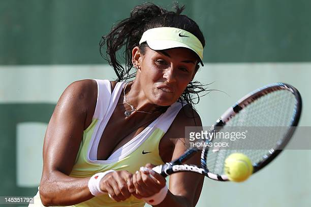 Canada's Heidi El Tabakh hits a return to Canada's Aleksandra Wozniak during their women's Singles 1st Round tennis match of the French Open tennis...