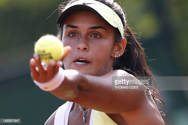 Canada's Heidi El Tabakh serves to Canada's Aleksandra Wozniak during their women's Singles 1st Round tennis match of the French Open tennis...