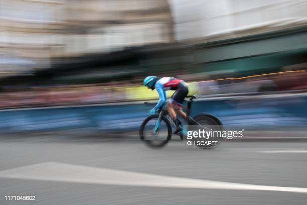 Canada's Hugo Houle competes in the Elite Men Individual Time Trial, over 54 kms from Northallerton to Harrogate, at the 2019 UCI Road World...