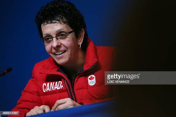 Canada's ice hockey player Danielle Goyette speaks during a press conference on February 5 2014 in Sochi two days ahead of the opening ceremony of...