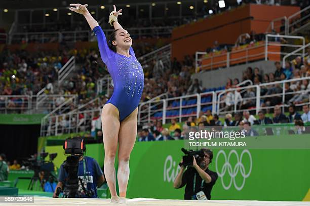 Canada's Isabela Onyshko competes in the women's balance beam event final of the Artistic Gymnastics at the Olympic Arena during the Rio 2016 Olympic...