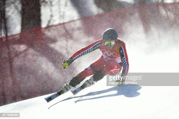 Canada's James Crawford competes in the Men's Alpine Combined Downhill at the Jeongseon Alpine Center during the Pyeongchang 2018 Winter Olympic...