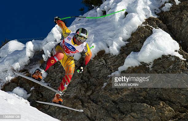 Canada's Jan Hudec jumps at the Hundschopf during the second training session of the FIS World Cup Men's Downhill on January 12 2012 in Wengen AFP...