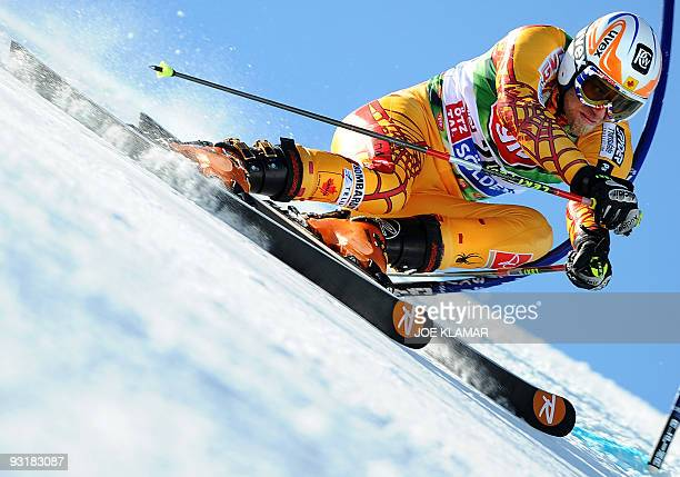 Canada's JeanPhilippe Roy competes in men's giant slalom during the opening of FIS Alpine Skiing World cup on Rettenbach glacier in Soelden on...