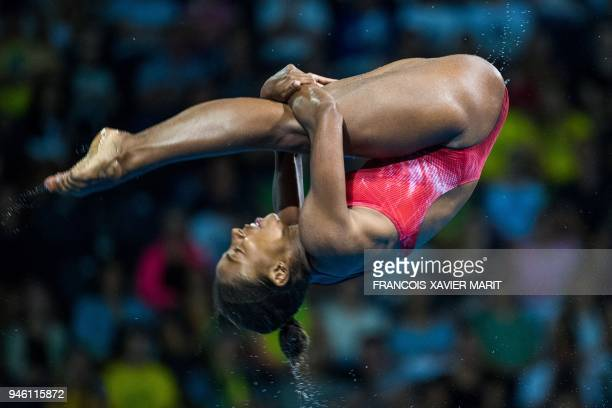 Canada's Jennifer Abel competes during the women's 3m springboard diving final during the 2018 Gold Coast Commonwealth Games at the Optus Aquatic...