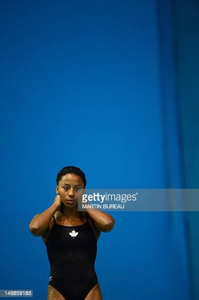 Canada's Jennifer Abel gets ready as she competes in the final of the women's 3m springboard diving event at the London 2012 Olympic Games on August...