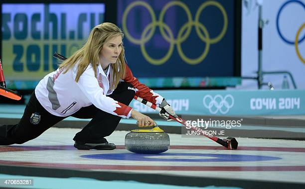Canada's Jennifer Jones throws the stone during the Women's Curling Gold Medal Game Sweden vs Canada at the Ice Cube Curling Center during the Sochi...