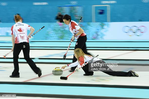 Canada's Jennifer Jones throws the stone during the Women's Curling Gold Medal Game Canada vs Sweden at the Ice Cube Curling Center during the Sochi...