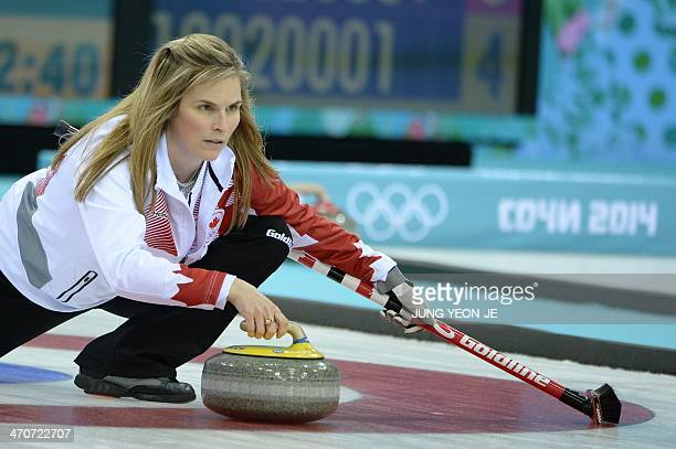 Canada's Jennifer Jones throws the stone in the Women's Curling Gold Medal Game Canada vs Sweden at the Ice Cube Curling Center during the Sochi...