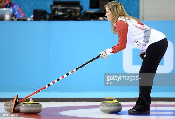 Canada's Jennifer Jones waits for the stone during the Women's Curling Round Robin Session 1 at the Ice Cube Curling Center during the Sochi Winter...