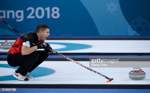 TOPSHOT Canada's John Morris reacts during the curling mixed doubles round robin session between Canada and Norway during the Pyeongchang 2018 Winter...