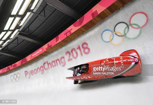TOPSHOT Canada's Justin Kripps and Canada's Alexander Kopacz compete in the 2man bobsleigh heat 1 run during the Pyeongchang 2018 Winter Olympic...