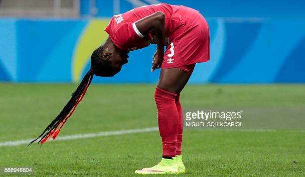 TOPSHOT Canada's Kadeisha Buchanan is pictured during the Rio 2016 Olympic Games women's football quarterfinal match against France at the...