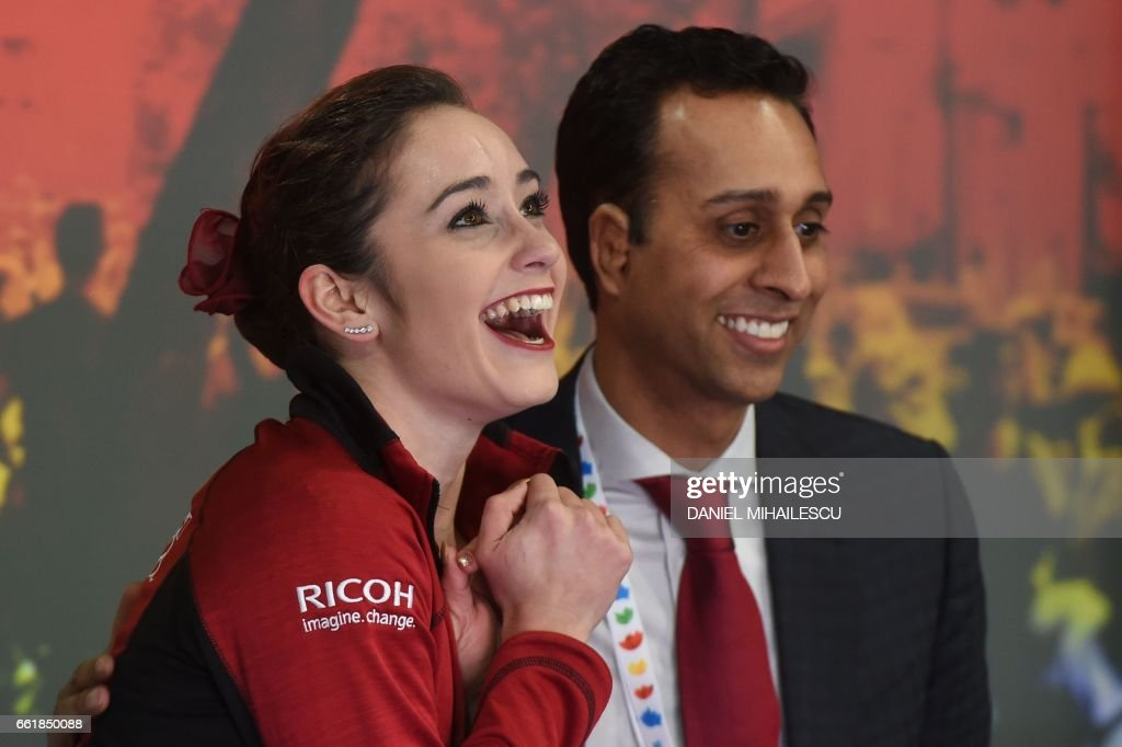 Canada's Kaetlyn Osmond celebrates after the woman's Free Skating event at the ISU World Figure Skating Championships in Helsinki, Finland on March 31, 2017. Evgenia Medvedeva of Russia won the Gold medal ahead of Silver medallist Canada's Kaetlyn Osmond and Bronze medallist Canada's Gabrielle Daleman. / AFP PHOTO / Daniel MIHAILESCU