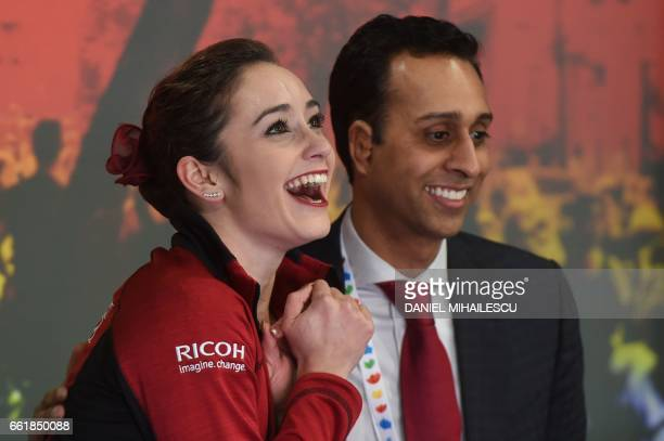 Canada's Kaetlyn Osmond celebrates after the woman's Free Skating event at the ISU World Figure Skating Championships in Helsinki Finland on March 31...