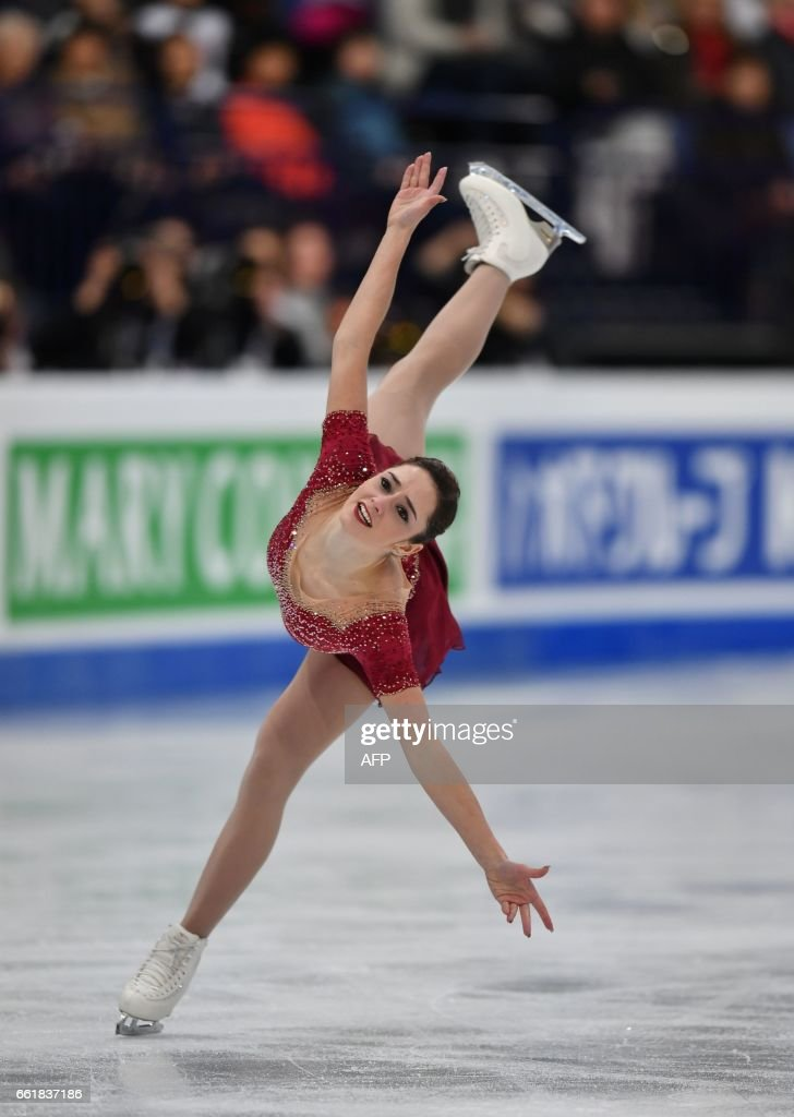 Canada's Kaetlyn Osmond competes in the woman's Free Skating event at the ISU World Figure Skating Championships in Helsinki, Finland on March 31, 2017. Evgenia Medvedeva of Russia won the Gold medal ahead of Silver medallist Canada's Kaetlyn Osmond and Bronze medallist Canada's Gabrielle Daleman. / AFP PHOTO / Daniel MIHAILESCU