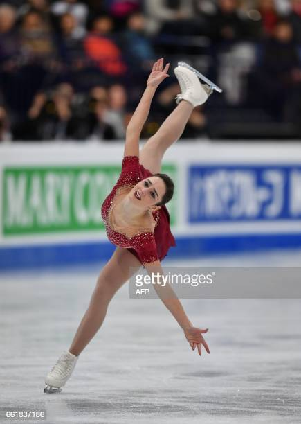 Canada's Kaetlyn Osmond competes in the woman's Free Skating event at the ISU World Figure Skating Championships in Helsinki Finland on March 31 2017...