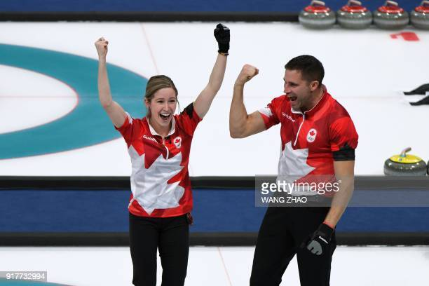 Canada's Kaitlyn Lawes and Canada's John Morris celebrate winning the curling mixed doubles gold medal game between Canada and Switzerland during the...