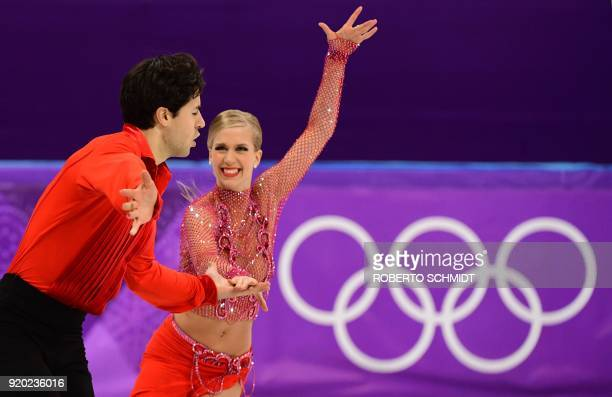 Canada's Kaitlyn Weaver and Canada's Andrew Poje compete in the ice dance short dance of the figure skating event during the Pyeongchang 2018 Winter...