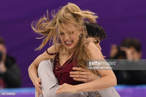 Canada's Kaitlyn Weaver and Canada's Andrew Poje compete in the ice dance free dance of the figure skating event during the Pyeongchang 2018 Winter...
