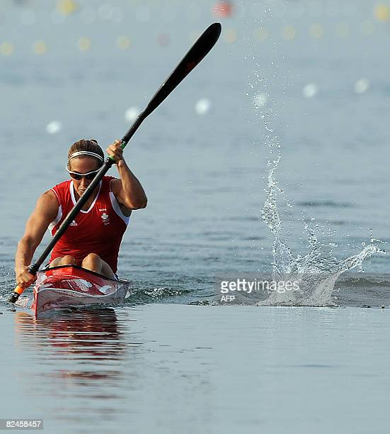 Canada's Karen Furneaux competes in the women's kayak K1 500m flatwater race at the Shunyi Rowing and Canoeing Park during the 2008 Beijing Olympic...