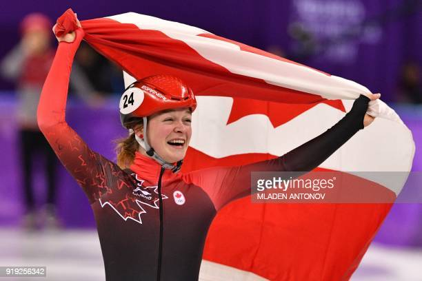 Canada's Kim Boutin celebrates her bronze in the women's 1500m short track speed skating A final event during the Pyeongchang 2018 Winter Olympic...