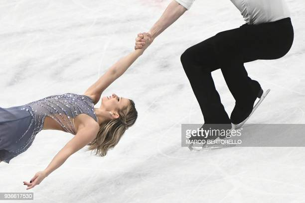 Canada's Kirsten Moore-Towers and Michael Marinaro perform during the Pairs Free Skate program at the Milano World League Figure Skating Championship...