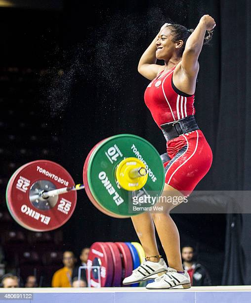OSHAWA ON JULY 14 Canada's Kristel Ngarlem celebrates after lifting 93kg in her second attempt at the snatch during the Pan Am Games Women's 69 kg...
