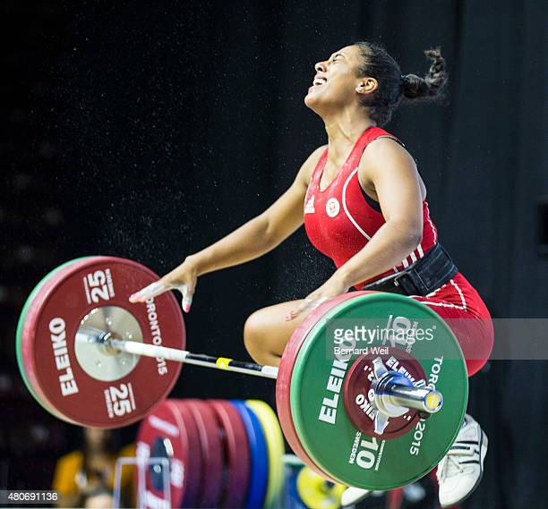 OSHAWA ON JULY 14 Canada's Kristel Ngarlem grimaces after failing to lift 95kg at the snatch during the Pan Am Games Women's 69 kg Group A...